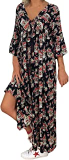 VonVonCo Women Casual Wild Elegant Party Ladies Loose Plus Size Print Long Sleeve V-neck Long Maxi Dress