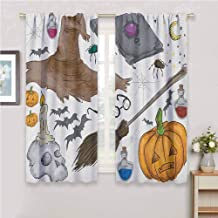 Halloween Drapes Panels Magic Spells Witch Craft Objects Doodle Style Illustration Grunge Design Skull Curtains for Living Room Multicolor 72 x 45 inch