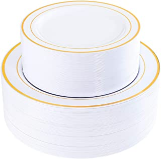 "120 Pieces Gold Plastic Plates, Heavyweight White Disposable Plates with Gold Rim, includes: 60 Dinner Plates 10.25"", 60 Dessert Plates 7.5"""