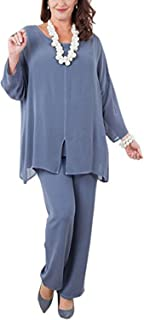 Women's Chiffon Long Sleeves Mother of The Bride Pant Suits Plus Size 3 Pieces