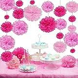 Sunbeauty 27 Set de Pink Rosa Bola de Papel Higiénico en Decoración de Fiesta de Boda en Serie