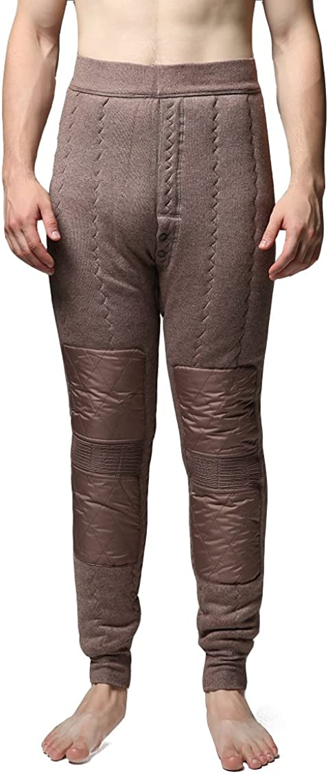Jianai Men's Heavy-Weight Four-Layer Thermal Underwear Bottoms Pants (Tan, Large)