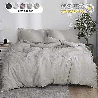 Simple&Opulence 100% Linen Stone Washed 3pcs Basic Style Solid Duvet Cover Set (Full, Linen)