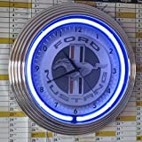 NEON CLOCK FORD MUSTANG BAR AND SHIELD SIGN, WALLCLOCK WITH BLUE NEON RIM!