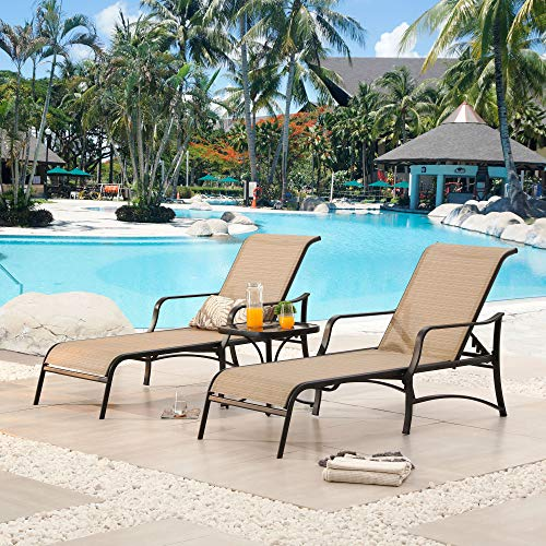 LOKATSE HOME Outdoor Patio Adjustable Metal Chaise Lounge Chair Recliner Set of 2 with 1 Glass Top Bistro Table - Beige