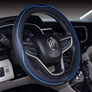 2019 New Black Blue Microfiber Leather Steering Wheel Cover for F-150 Tundra Range Rover 15.5