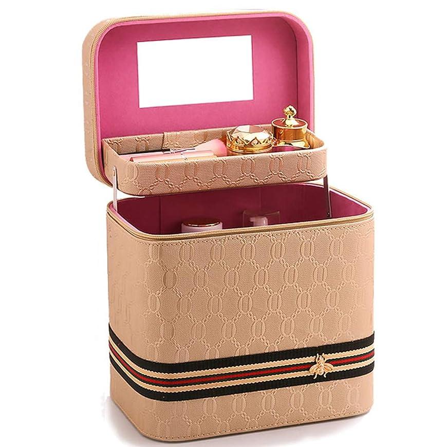 [テンカ]メイクボックス コスメボックス 大容量 おしゃれ 鏡付き プロ 化粧品収納ボックス かわいい ブランド 人気 化粧ボックス 機能的 小物 メイクポーチ 旅行 収納ケース 2段タイプ ベージュ