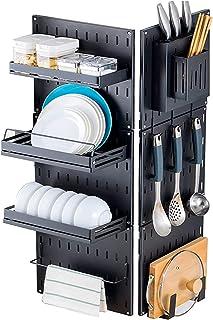 Lot de 9 égouttoir à vaisselle à suspendre avec support à couteaux, support pour ustensiles de cuisine, étagère à épices a...