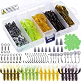 Soft Fishing Lures, Bass Fishing Lures, 70 pcs Crawfish Baits with Sinker, Fishing Hooks, Jig Head Hook and Other Fishing Accessories for Fresh Water and Salt Water