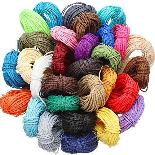 328 Yardas 30 Colores 1 MM Cordón de Hilo de Poliéster Encerado Hilo de Pulsera de Macramé para Fabricación de Joyas Cables de Bricolaje, 10 M Cada Color