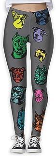 Nuo Beike Color Pitbull Dog Funny Print Yoga Leggings Pants Quick Dry Capri Leggings