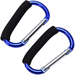 JIALEEY Grocery Bag Shopping Bag Holder Handle Carrier Tool Multi Purpose Snap Hook Stroller Hook Set Organizer Accessories with Soft Foam Grip for Hanging, Pack of 2, Blue