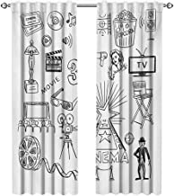 Movie Theater, Curtains and Drapes, Hand Drawn Symbols of Hollywood Oscar 3D Glasses Sketch Style Arrangement, Curtains Girls Room, W72 x L96 Inch, Black White
