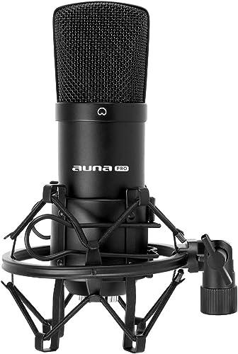 Auna CM001B - Micrófono de condensador, para estudio profesional, cuerpo de latón resistente, salida XLR y Shockmount...