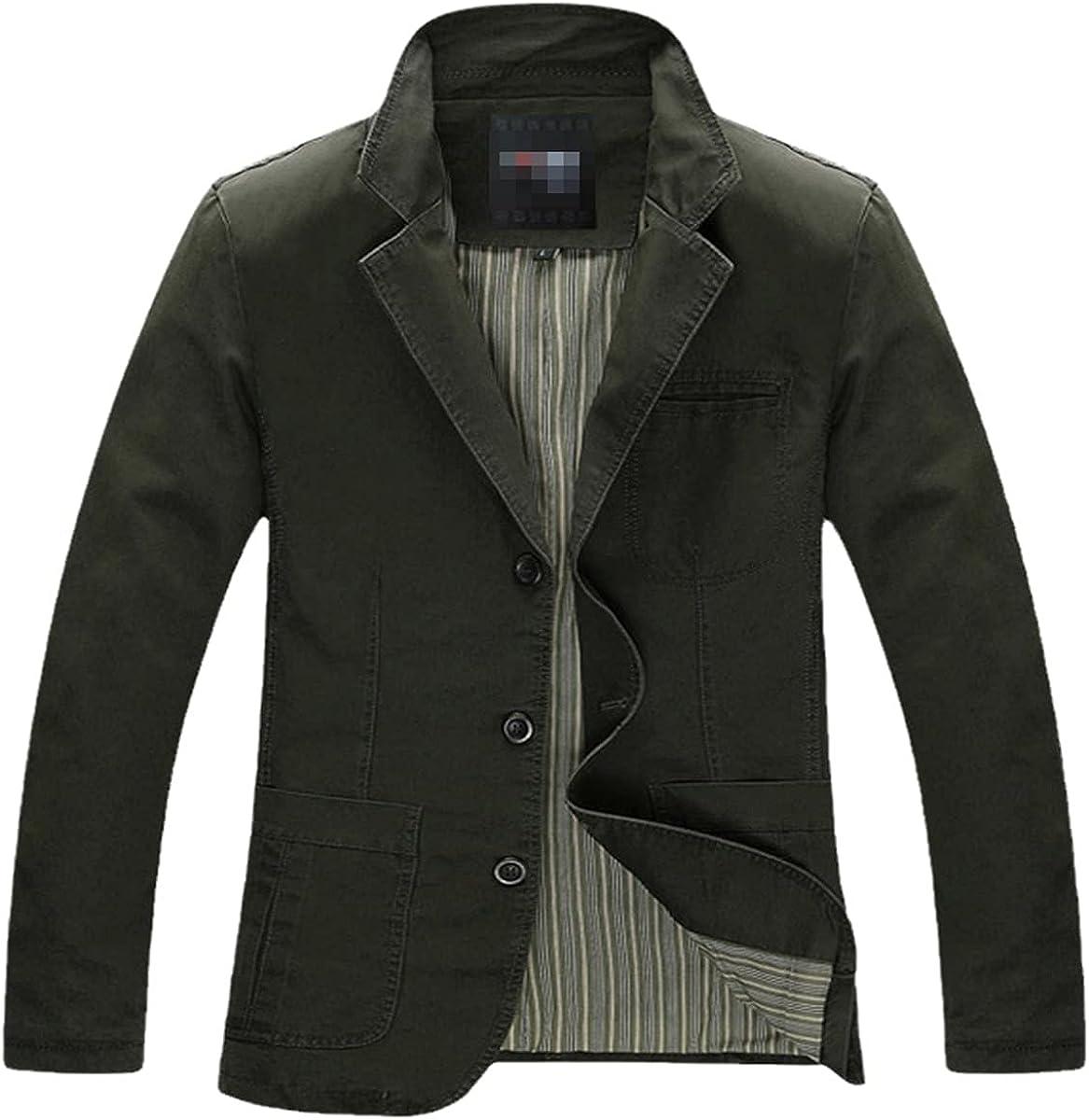 DFLYHLH Spring and Autumn Men's Casual Suit Jacket Cotton Denim Jacket Jacket Men's Slim Green Khaki Suit