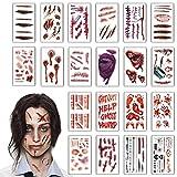 heekpek Tatouages Temporaires Halloween Zombie Scars Tatouages Autocollants avec Fake Scab Blood Spécial FX Costume Maquillage Props (B)