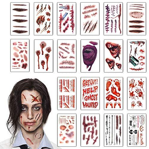 heekpek Halloween Zombie Cicatrices Tatuajes Pegatinas con F
