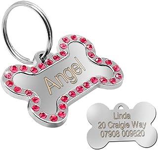 Placa identificativa para mascotas de Berry, con diamantes de imitación, en forma de hueso (personalizable)