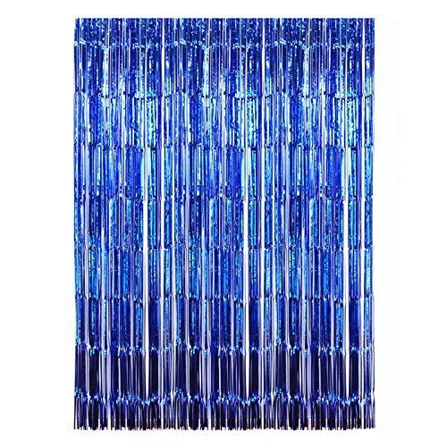 JIAHU Lametta-Fransenhintergr& aus Metallfolie, schimmernd, Foto, Blau, 2 Stück, 1 x 2 m, Königsblau