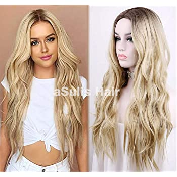 "aSulis Natural Long Wavy Wig Dark Roots Ombre Blonde Wig Middle Parting Synthetic Replacement Wig 28"" (Blonde)"