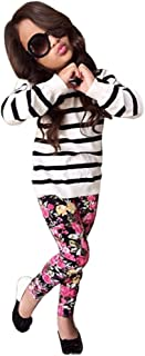 Boomboom Baby's Clothes Set, 2017 Autumn Baby Girls Stripe Long Sleeve Tops+Floral Long Pants