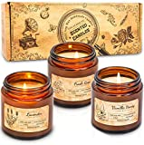 IDEALHOUSE Scented Candles Gift Set, Soy Wax Candles of Vanilla Honey, Fresh Rose, and Lavender, Perfect Candles Gifts Set for Women, Birthdays, Weddings, Christmas, Yoga, Bath, Glass Candle Jar of 3