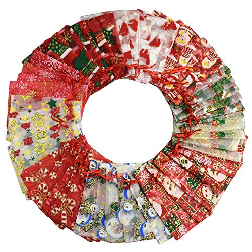 Heekpek - Bolsas de organza de regalo de 100 x 15 cm (4 x 6 pulgadas) con cordón y bolsitas de caramelos para bomboneras de color navideño