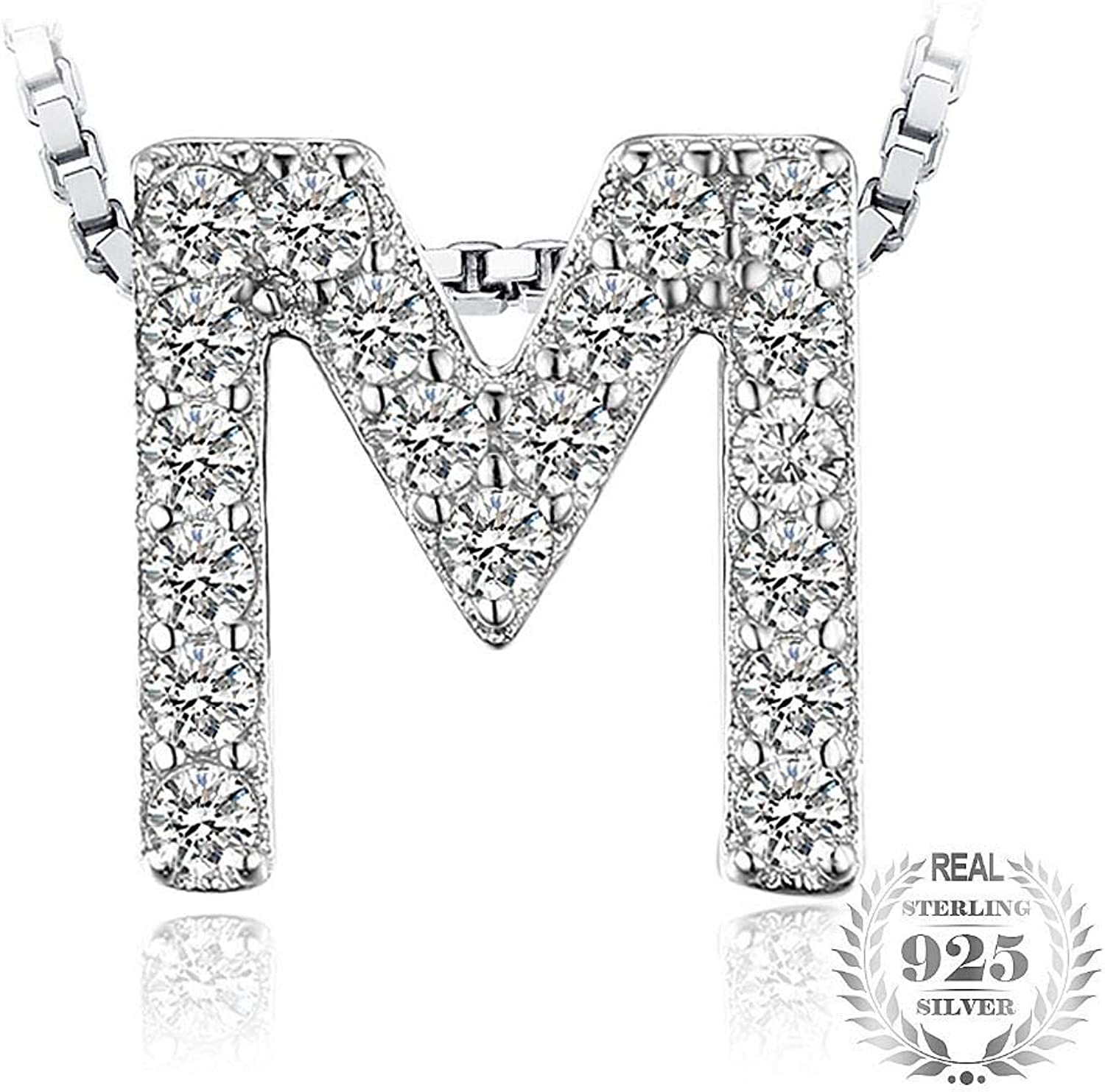 GSYDSZ Letter M Initial Cubic Zirconia Pendant 925 Sterling Silver Gift for The Mother's Day Not Include A Chain