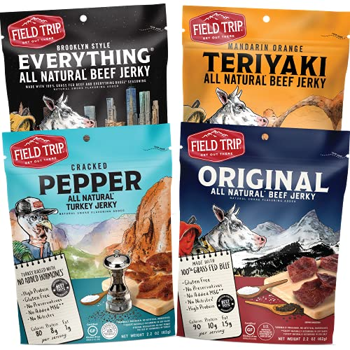 Field Trip All Natural Jerky Variety Pack   All Natural and Grass Fed Beef   Nitrate and Nitrite Free Low fat Protein Snack   4 Count