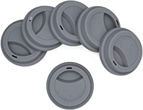 Silicone Drinking Lid Spill-Proof Cup Lids Reusable Coffee Mug Lids Coffee Cup Covers 6 Pcs - Grey