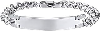 Bandmax 316L Stainless Steel Silver Cuban Link Bracelet Jewelry for Women Men,Emgraved EMC Alert ID Medical Symbol Metal C...