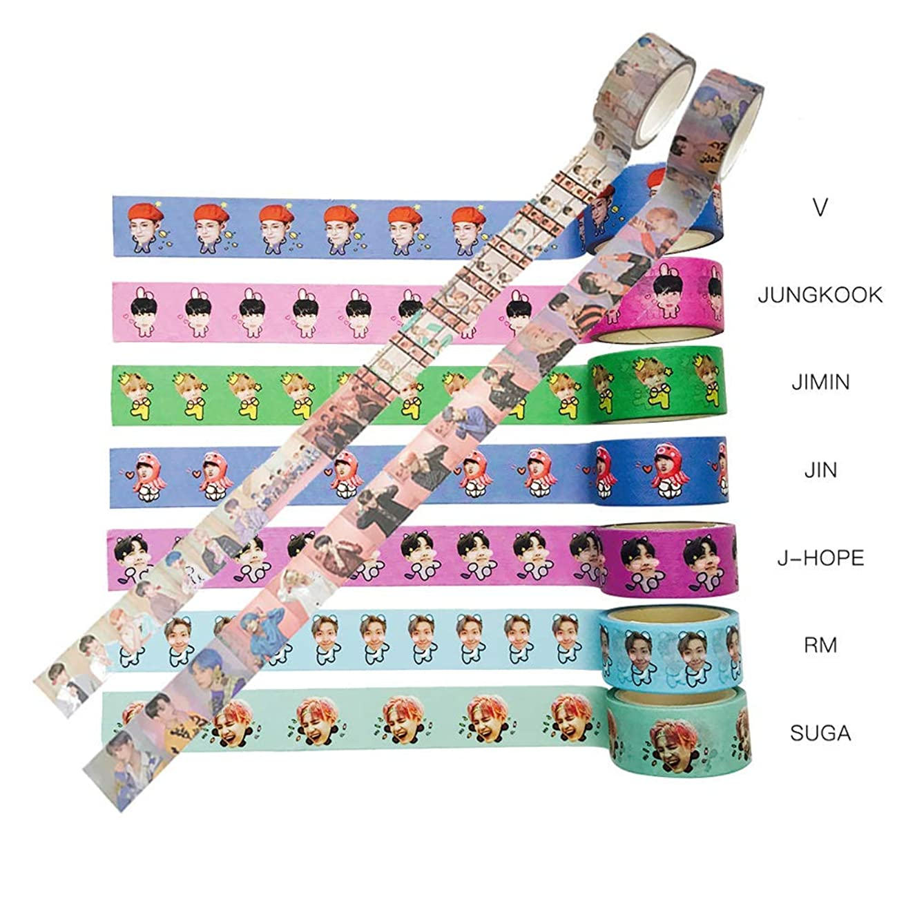 BTS Tearable Masking Tape - BANTAN Boys Stickers, Gift for Army Daughter (9pcs)