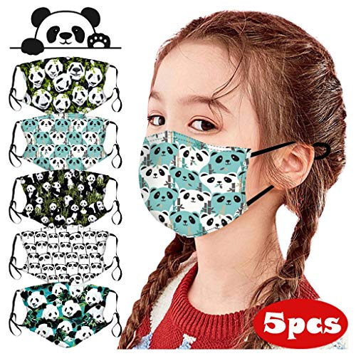 Baohooya 5 Stück Mundschutz Kinder Cartoon-Panda Lustige Drucke Waschbar Wiederverwendbar Baumwolle Face Cover (A)