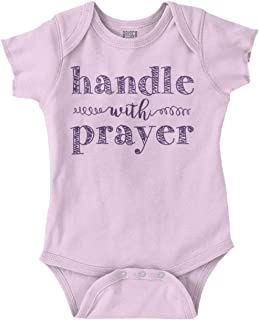 Brisco Brands Handle with Prayer Funny Christian Baby Romper Bodysuit
