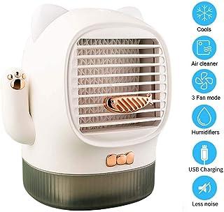 Giaowoli Mini Aire Acondicionado Portátil Gato suertudo Móvil Mini Ventilador Pequeño Humidificador Ventilador USB Enfriador evaporativo 3 Velocidades para el hogar, Cocina y la Oficina