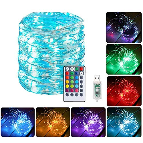 Jetencn Fairy String Lights Plug In, 33ft 100 LED Waterproof String Lights - USB Powered 16 Colors Changing RGB Silver Wire Lights - 4 Lighting Modes Remote Control for Bedroom Party Wedding Christmas