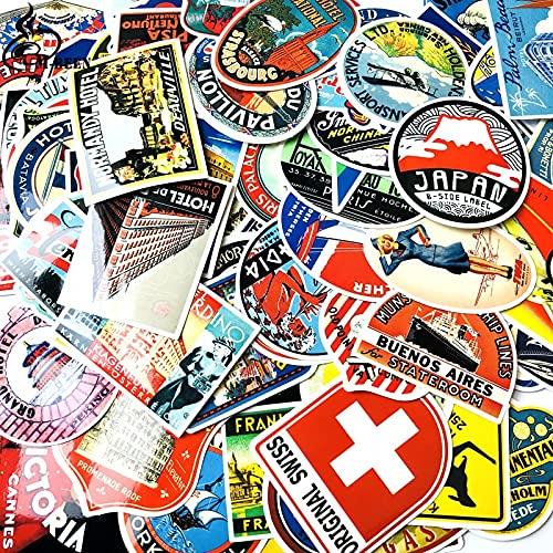 WOCAO 100 Pz Misto Retro Viaggio Hotel Logo Paese Adesivi per Valigia Bici Skateboard libro computer portatile sticker