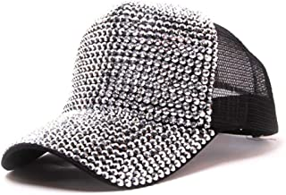 MKJNBH Rhinestone Baseball Cap Fashion Outdoor Summer Diamond Casual Breathable Mesh Point Drill Hat Unisex