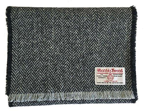 Echt Harris Tweed Wolle Schal in schwarz un grau