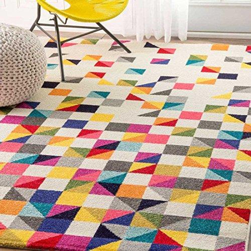 UN AMOUR DE TAPIS - tapis salon detru boutik noir, blanc, rose, bleu, gris,  jaune, orange, violet, rouge, vert, gris - 160 x 230 cm - tapis moderne ...