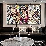 Colección de mujeres famosas, carteles e impresiones de Mona Lisa, pinturas en lienzo, cuadros artísticos de pared para la decoración de la sala de estar 60x105 CM (sin marco)