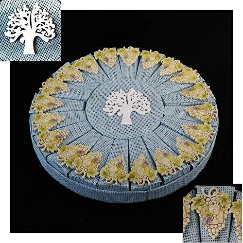 DLM30274 Bomboniere a Torta Blu Bimbo Albero della Vita Calamita Magnete Vite Grappolo D'uva e Calice Prima Comunione Confettata bomboniera