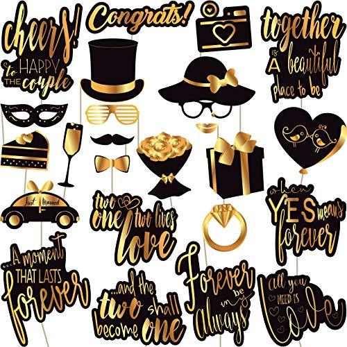 Wedding Photo Booth Props - Gold Wedding Photobooth Props and Signs - Party Favors Supplies and Decorations (24 Count)