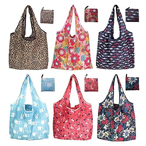 SNAILGARDEN 6 Pcs Bolsa de Compras Plegable,Bolsa de Tela para Compras- Resistente, Duradero y Ecológicas - para Shopping, Supermercado,etc.