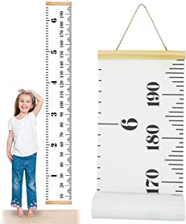 """ONYADD Baby Growth Chart Handing Ruler Wall Decor for Children Height Record Talltape for Kids Nursery Room Canvas Removable Roll Up 79""""x7.9"""", White"""