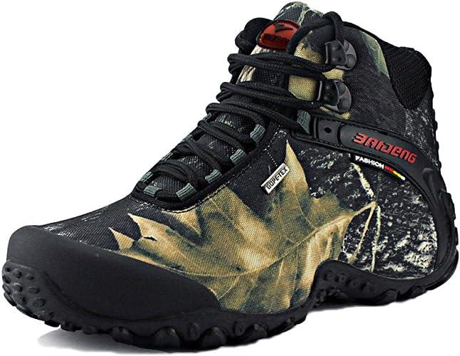 Nihiug Bottes De Randonnée pour Hommes Haute Hauteur De Randonnée Chaussures De Marche Antichoc Chaussures De Sport en Plein Air Anti-Dérapant Grand