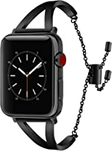 CAGOS Stainless Steel Band Compatible Apple Watch Bands 38mm 40mm Series 4/3/2/1 Women Men, Classic Cuff Bracelet Wristbands Replacement Strap (Black, 38mm)
