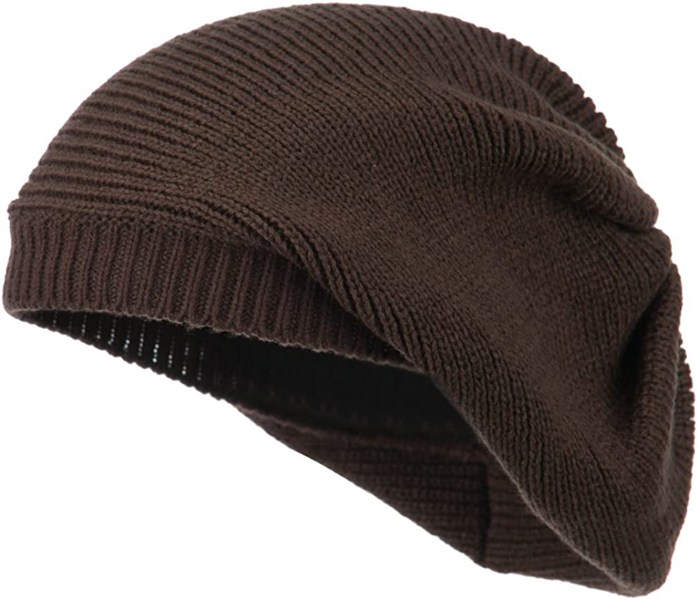 Cheveux Women's Ribbed Knit Beret - Brown