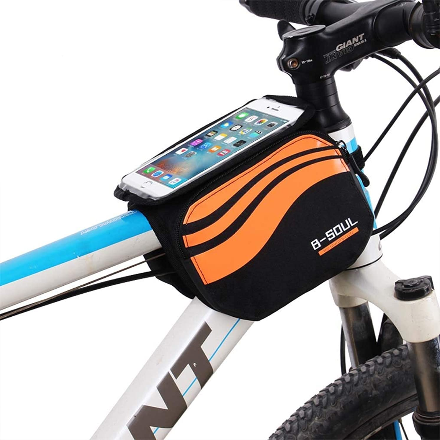 Cloud Bike Frame Bag, Bicycle Phone Mount Cycling Front Top Tube Pouch Frame Phone Holder Bag Pannier (Color : Orange, Size : 5.7 inches)