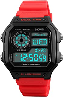 TONSHEN Sport Digital Watch for Men Outdoor Military 50M Waterproof LED Electronic Double Time Multifunction Stopwatch Alarm Countdown Rectangular Plastic Watches with Rubber Band (Red)